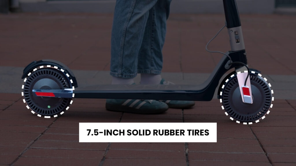 7.5 solid rubber tires on the unagi model one