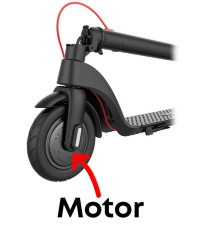 Motor located in wheel of e-scooter