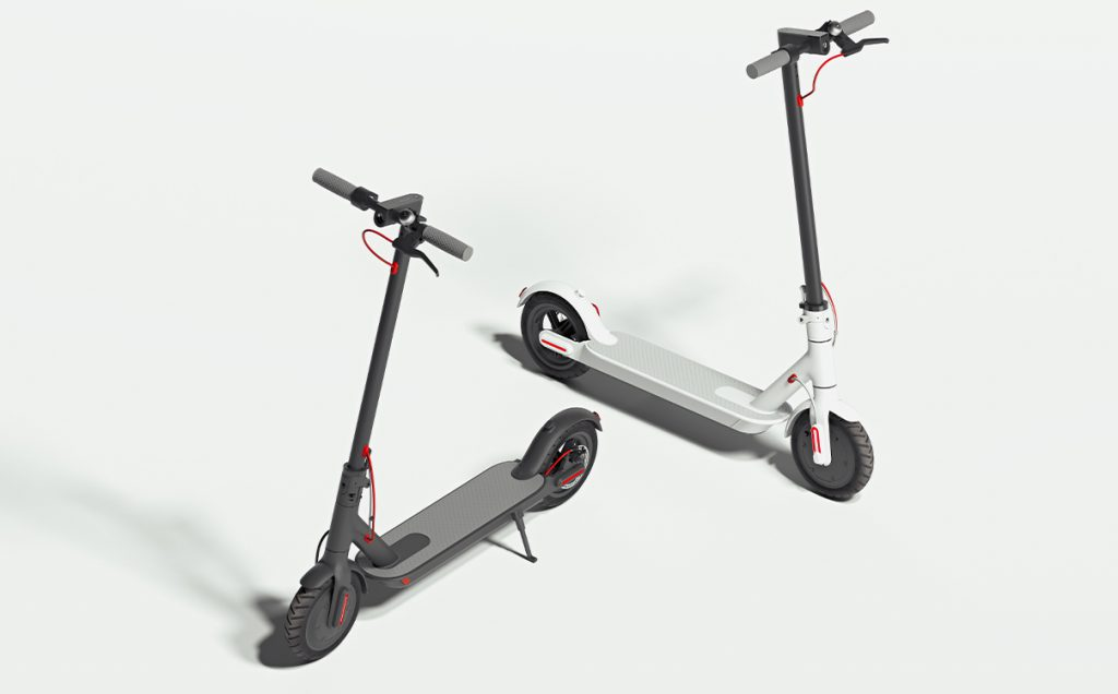 two electric scooters 3d render