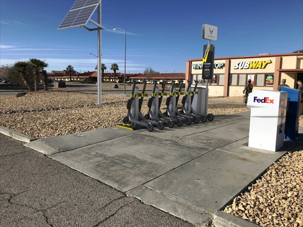 Swiftmile charging station outside a subway render