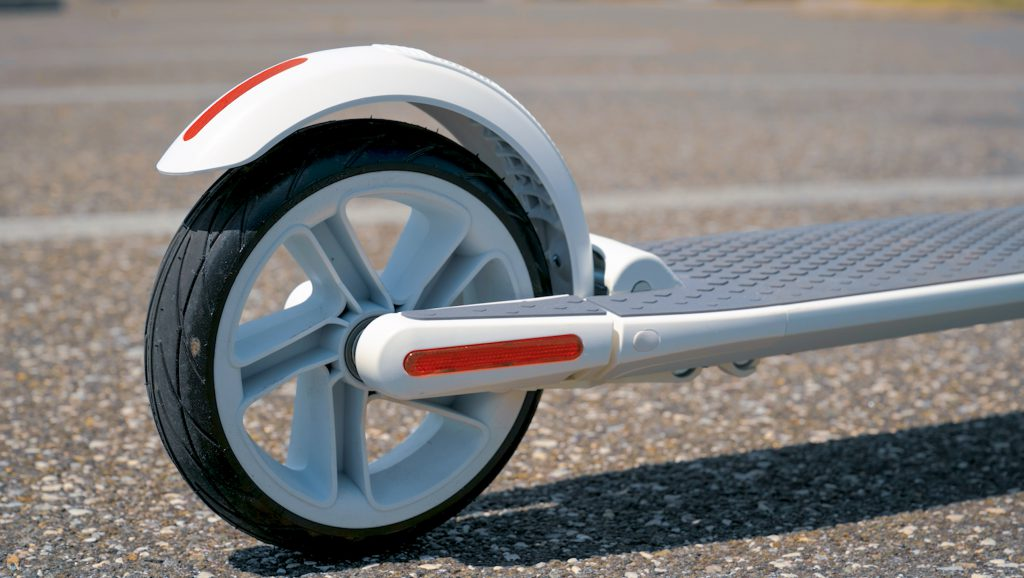 Rear fender and tire on Segway Ninebot ES2 electric scooter