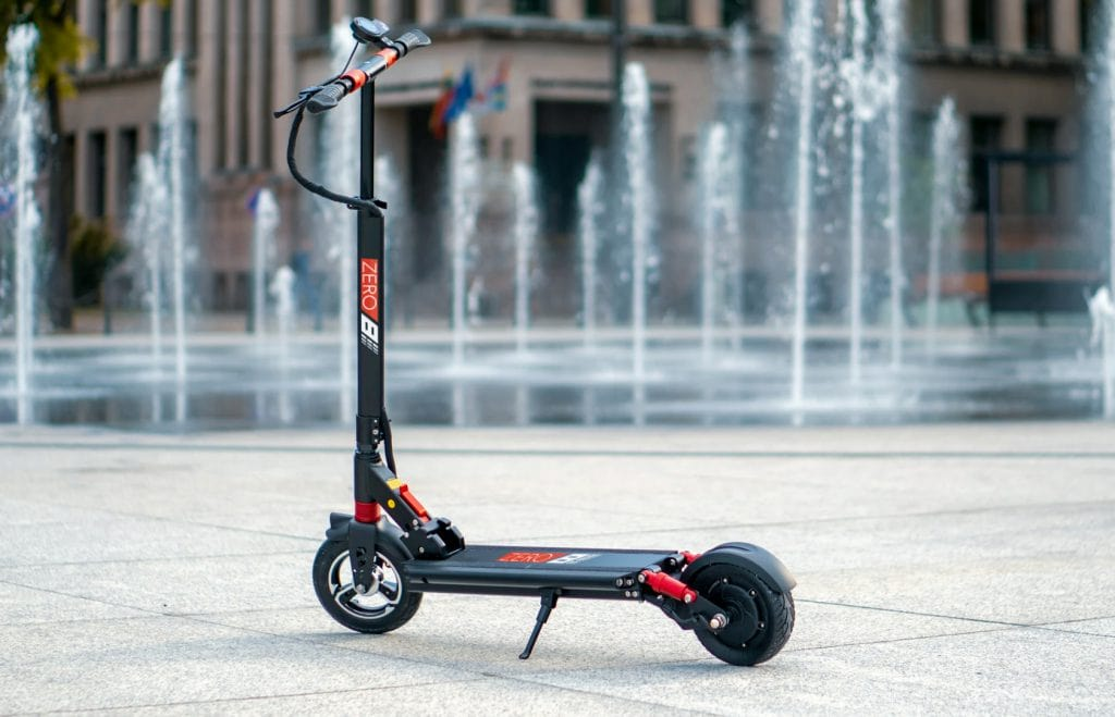 Zero 8 Electric Scooter near a fountain in the street