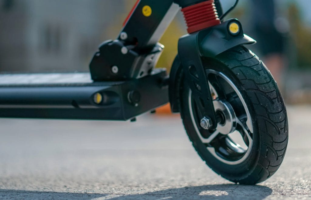 close-up of front wheel on the ZERO 8 scooter