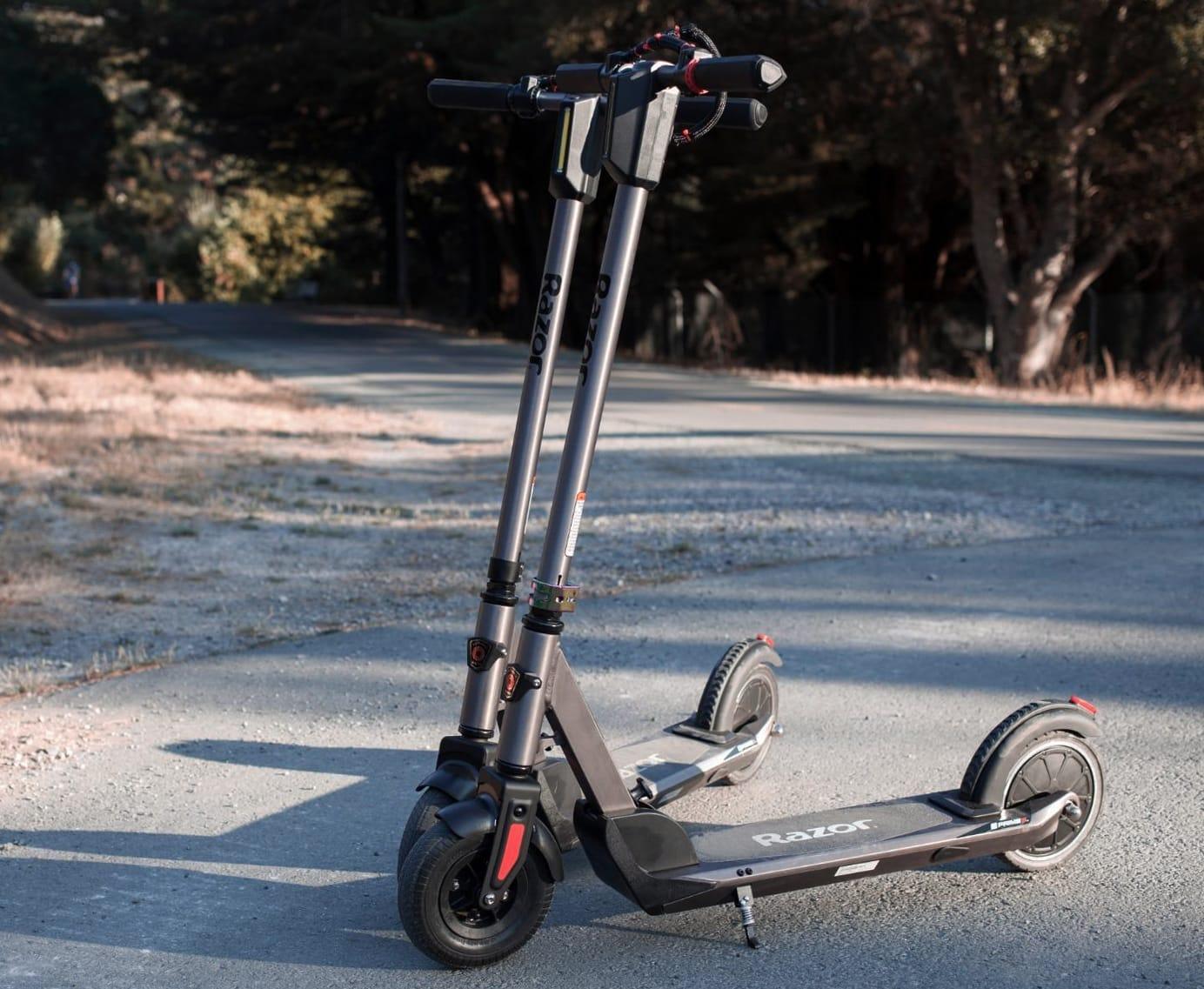 two razor e prime 3 electric scooters