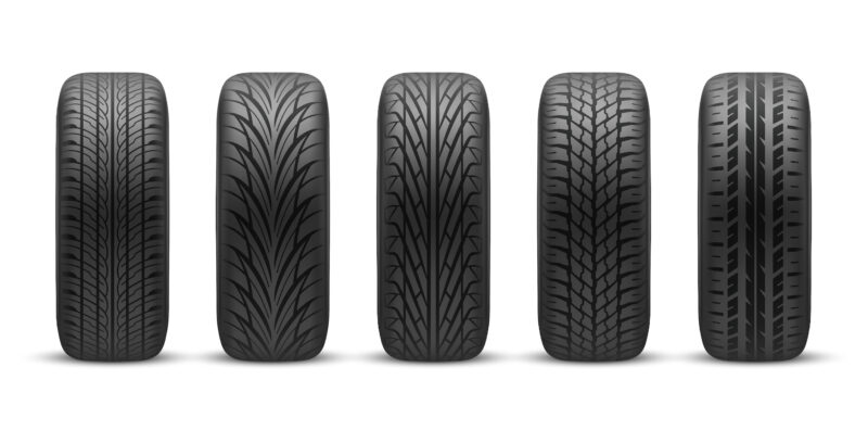 Realistic tires with different tread patterns